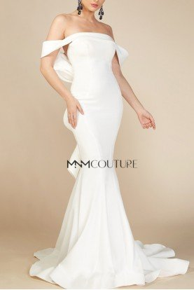 White Off the Shoulder Mermaid Gown MNM N0145