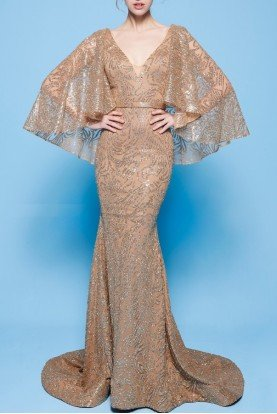 MNM Couture Gold Cape Sleeve Evening Gown MNM N0245