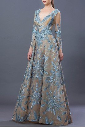 Two Tone Long Sleeve A Line Gown MNM  K3652
