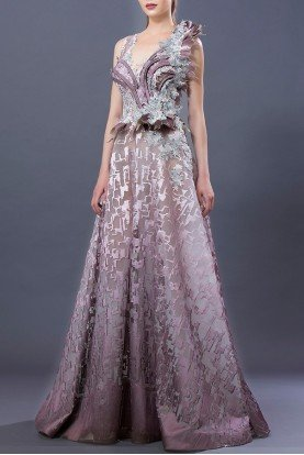 Purple and Icy Floral Embellished Gown MNM  K3649