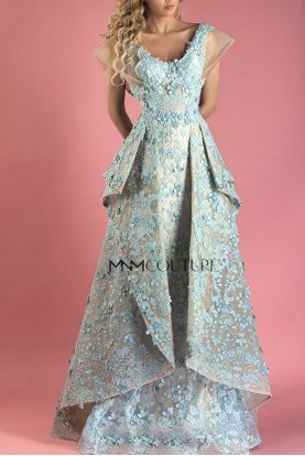 MNM Couture Gold Blue Floral Short Sleeve Gown MNM K3544