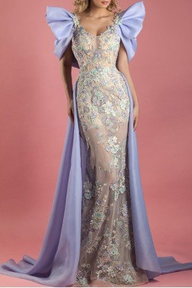Purple Flared Short Sleeve Mermaid Gown MNM K3552