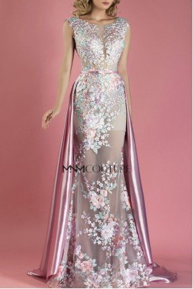 Pink Cap Sleeve Floral Evening Gown MNM  K3557