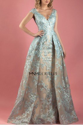 MNM Couture Blue Cap Sleeve Floral A Line Gown MNM K3562