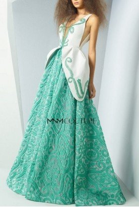 Illusion V-Neck Aqua Ball Gown MNM G0888