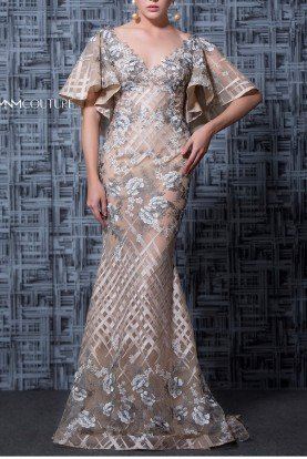 Beige Short Sleeve Trumpet Evening Gown