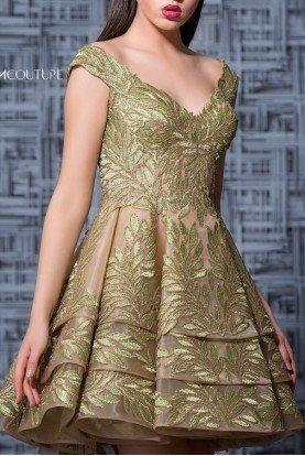 Olive Green Cap Sleeve Mini Party Dress  K3582