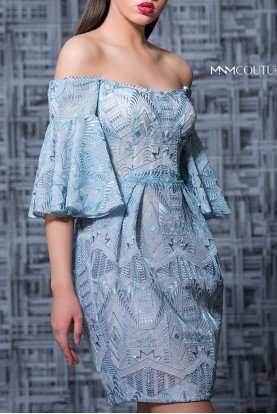Blue Off the Shoulder Cocktail Dress MNM K3588