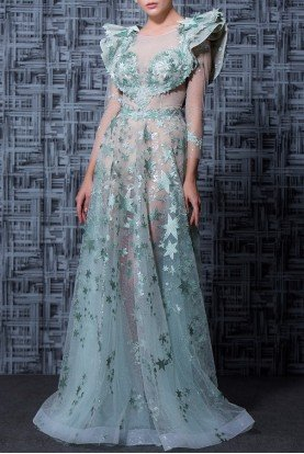 Green Mid Length Sleeve Evening Gown MNM K3602