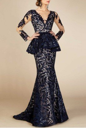Blue Long Sleeve Peplum Gown MNM M0001