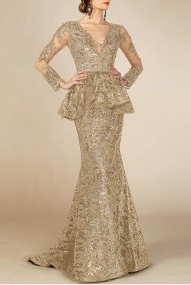 Long Sleeve Peplum Champagne Evening Gown M0001
