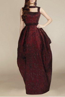 Burgundy Sleeveless Puffed Sequin Gown N0120