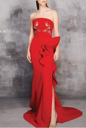 MNM Couture Red Strapless Evening Gown MNM  N0177