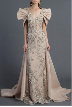 Champagne Short Sleeve Evening Gown MNM K3552