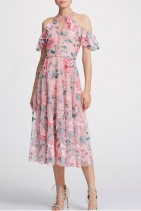 Floral Cold Shoulder Midi Tea Dress D486