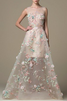 SK by Saiid Kobeisy Gilded Beige 3D Embroidered Gown SK 18