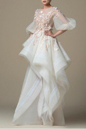 SK by Saiid Kobeisy Oyster Pink Laser Cut Tulle Gown SK 19