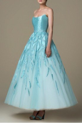 SK by Saiid Kobeisy Filtered Aqua Strapless Brocade A Line Gown SK 27