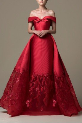 Red Off Shoulder Embroidered Lace Cut Gown SK 29