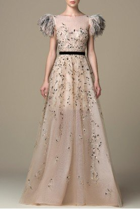SK by Saiid Kobeisy Gilded Beige Full Illusion Embroidered Gown SK 38