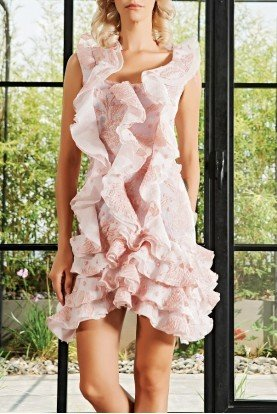 Pink Ruffled Floral Fil Coupe Dress JPA 1041