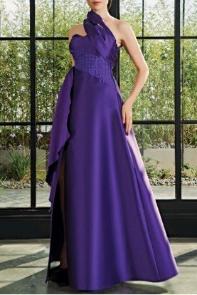 One Shoulder Wrapped Asymmetric Gown JPA 2034