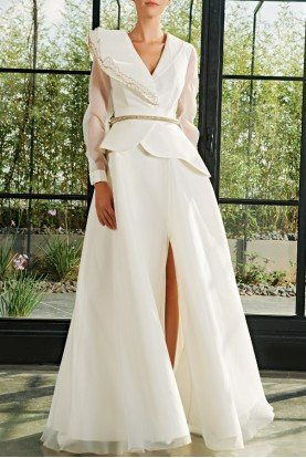 White Low Collar Taffeta Tulle Gown JPA 2044