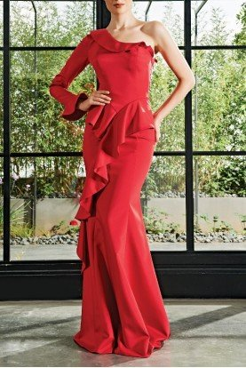 Red One Sleeve Ruffled Trumpet Dress JPA 2126