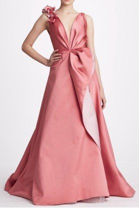 Two Tone Rose Satin V Neck A Line Gown M27802