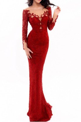 Red Long Sleeve Fitted Shell Gown 93334