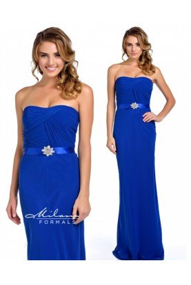 Milano Formals Blue Ruched Strapless Gown E1421