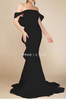 MNM Couture Black Off the Shoulder Evening Gown