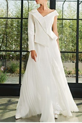 Asymmetrical Pleated Organza Taffeta Gown JPA 2024