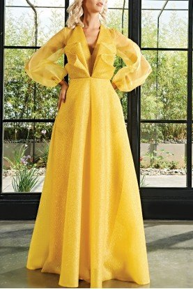 Draped Honeycombed Jacquard Long Dress JPA 1880