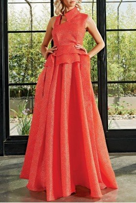 John Paul Ataker Paneled Honeycombed Jacquard Long Gown JPA 2149