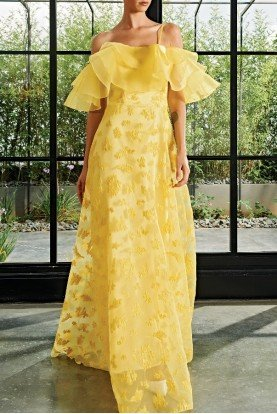 John Paul Ataker Organza Ruffle Floral Embroidered Dress JPA 976
