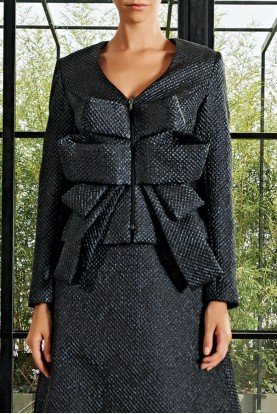 Black Draped Honeycombed Jacquard Jacket JPA 2092