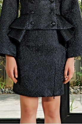 Black Honeycombed Jacquard Skirt JPA 2099