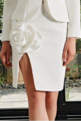 Ivory Rose Applique Jacquard Skirt JPA 2172