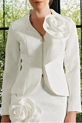 Draped Rose Detailed Honeycomb Jacket JPA 2169