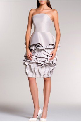 White Strapless Ruffled Taffeta Dress JPA 758