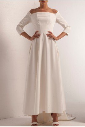 John Paul Ataker Boat Neck Stretch Faille Gown with Train JPA 444