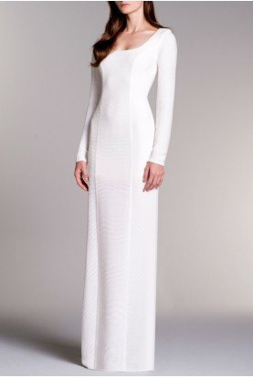 LONG SLEEVED STRETCH RIBBED JACQUARD DRESS