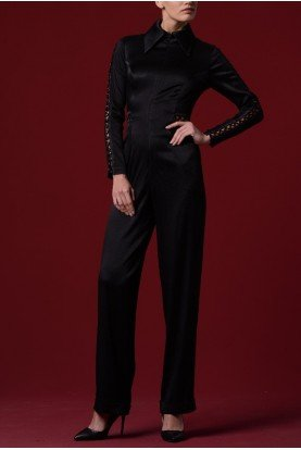 John Paul Ataker Black Lace Up Stretch Satin Jumpsuit JPA 1240