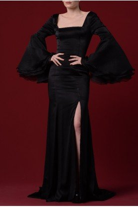 Black Stretch Satin with Organdy Sleeves JPA 1216