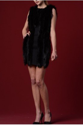 Faux Fur Paneled Double Viscose Dress JPA 1181