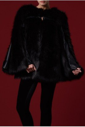 Loose Faux Fur with Leatherette Panel JPA 1141