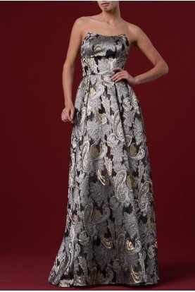 Metallic Ethnic Jacquard Strapless  Gown JPA 1094