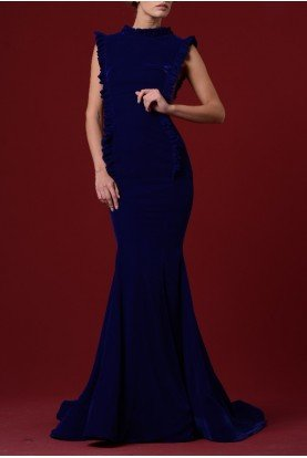 Draped One Shoulder Shiny Velvet Dress JPA 1227