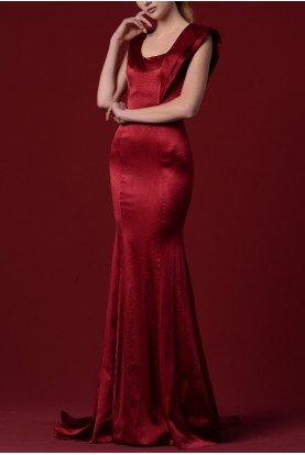 Red Stretch Satin Viscose Dress JPA 1281